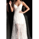 Boutique Womens Star Embroidered Spaghetti Straps V-neck See-through Maxi Pleated Flowy Slip Dress in White