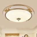 Bowl Shade Hallway Flushmount Lighting Traditional White Glass 14