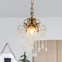 Mini Crystal Droplets Down Lighting Antique Single Living Room Pendant Lamp in Gold