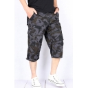 Fashion Shorts Camo Pattern Zip Fly Flap Pockets Button Detail Longline Straight Fit Cargo Shorts for Men