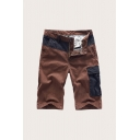 Creative Men's Shorts Color Block Zip Fly Button Detail Straight Fit Knee-length Chino Shorts with Flap Pocket