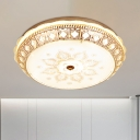 White Glass Bowl Ceiling Flush Mount Antiqued Bedroom LED Flush Mount Light Fixture in Gold