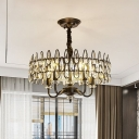 4-Light Ceiling Chandelier Modern Circular Crystal Teardrops Hanging Light Fixture in Black