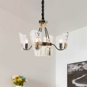 4 Bulbs Pendant Light Modernist Dining Room Chandelier with Gridded Shield Crystal Shade in Black
