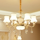 Gold 3/6 Heads Pendulum Light Traditional White Frosted Glass Urn-Shape Pendant Chandelier
