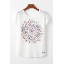 Simple Womens Patterned Short Sleeve Round Neck Relaxed T Shirt in White