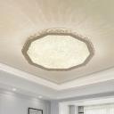 Hexagonal Crystal Geometric Flush Mount Modernism LED Flush Ceiling Light Fixture in Chrome