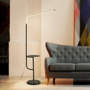 Iron Angled Floor Desk Lighting Minimalist LED Stand Up Lamp in White/Black for Living Room