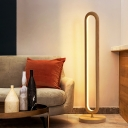 Wood Slim Oval Floor Standing Lamp Simplicity LED Floor Light in Beige/Brown for Bedside