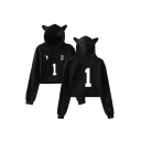 Cute Girls Number 3 Footprint Graphic Long Sleeve Relaxed Crop Ears Hoodie