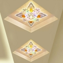 Modern Flower-Shape Flush Mount Clear Crystal LED Corridor Flush Ceiling Light Fixture
