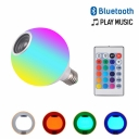 1pc Bluetooth Speaker Globe Bulb RGB Color Changing 5 W E27 24 LED Beads Light Bulb with White Plastic Shade