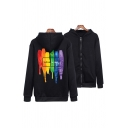 Cool Mens Letter Love Wins Colorful Stripe Graphic Long Sleeve Zipper Front Relaxed Fit Hoodie