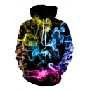 Creative Mens Visual Deception Drawstring Full Sleeve Loose Fit Hooded Sweatshirt with Pocket