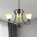 Antiqued Scroll Arm Hanging Chandelier 3 Heads Metallic Ceiling Pendant Light in Bronze with Amber Glass Shade