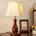 Twisted Vase Bedside Nightstand Light Rural Wood 1 Bulb Red Brown Table Lighting with Flaxen/Beige Scalloped Shade
