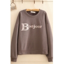 Casual Girls Letter Bonjour Print Long Sleeve Crew Neck Relaxed Fit Pullover Sweatshirt