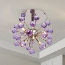 Faceted Crystal Orbs Purple Flushmount Sputnik 6 Bulbs Modernist Semi Flush Mount Ceiling Chandelier