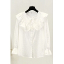 Lovely Girls Allover Flower Embroidered Bell Sleeve Crew Neck Ruffled Button up Loose Shirt Top in White