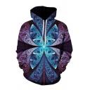 Chic 3D Visual Deception Pattern Pocket Drawstring Long Sleeve Regular Fit Hooded Sweatshirt for Men