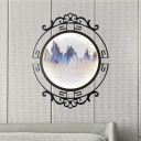 Metal Circle Wall Light Sconce Chinese Style Black LED Wall Mural Lighting with Elk-in-Mountains Pattern