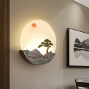 Blue Mountain Sunrise Wall Mural Lamp Asia LED Acrylic Flush Mount Sconce for Dining Room