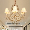 Gold Swirling Ceiling Chandelier Traditional Metal 6 Bulbs Lobby Pendant Light with Flared Fabric Shade