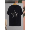 Chic Girls Sequined Star Printed Short Sleeve Crew Neck Relaxed Fit T Shirt