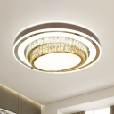 Crystal Stainless Steel Flushmount Oval Contemporary LED Flush Mount Ceiling Light Fixture