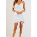 Chic Womens White Drawstring Spaghetti Straps Cowl Neck Mini Sheath Cami Dress