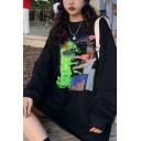 Hip Hop Girls Cartoon Pattern Long Sleeve Crew Neck Oversize Tee Top