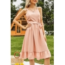 Trendy Womens Pink Square Neck Bow Tied Hollow out Back Ruffled Hem Mid Pleated A-line Tank Dress