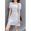 Stylish Ladies Plain Puff Sleeve Square Neck Drawstring Front Mini A-line Dress in White
