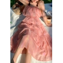 Glamorous Womens Glitter Bow Tied Shoulder Ruffled Trim Maxi Pleated Cami Dress in Pink