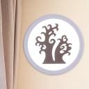 White Round Small Flush Mount Wall Light Minimalist LED Acrylic Mural Lighting with Naked Tree Pattern