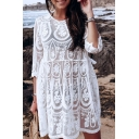 Beach Womens Allover Floral Embroidered See-through Lace Cut out Mini Pleated Swing Dress in White