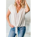 Popular White Short Sleeve V-neck Lace Trimmed Tied Hem Loose Fit T Shirt for Women