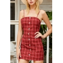 Pretty Womens Plaid Printed Spaghetti Straps Button down Bow Tied Cut out Back Mini Sheath Cami Dress in Red