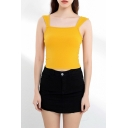Trendy Womens Plain Square Neck Slim Fit Cropped Tank Top in Yellow