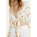 Allover Floral Print Long Sleeve Deep V-neck Bow Tied Front Fitted Crop Pretty Blouse Top in White
