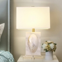 1-Light Rectangle Nightstand Light Traditional White Fabric Table Lamp with Mussel shell Deco
