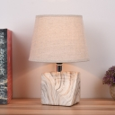 1 Light Table Lighting with Barrel Shade Fabric Traditional Study Room Ceramics-Base Nightstand Lamp in White