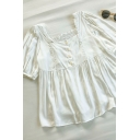 Chic Womens Solid Color Lace Trim Button Detail Ruffle Cuff Square Neck Short Sleeve Relaxed Fit Smock Top