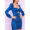 Boutique Womens Solid Color Long Sleeve Sweetheart Neck Hollow out Ruched Mini Tight Evening Dress
