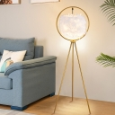 Circular Tripod Floor Lighting Postmodern Iron Single Black/Gold Standing Lamp with Suspended Cylinder Feather Shade