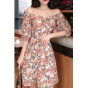 Trendy Allover Flower Print Short Sleeve Sweetheart Neck Mid A-line Dress in Pink