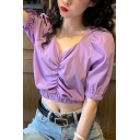 Fancy Womens Solid Color Puff Sleeve V-neck Ruched Elastic Hem Regular Crop Blouse Top