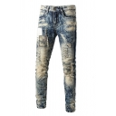 Cool Mens Camo Pattern Acid Wash Patchwork Pocket Zipper Mid Rise Full Length Slim Fitted Jeans
