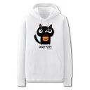 Popular Cartoon Cat Letter Candy Pleez Printed Pocket Drawstring Long Sleeve Regular Fit Graphic Hooded Sweatshirt for Men