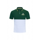 Athletic Tennis Racket Colorblock Contrast Trim Letter Grand Slam Printed Button Short Sleeve Turn-down Collar Regular Fitted Polo Shirt for Men